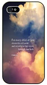 For every child of God defeats this evil world and we achieve this victory through faith - John 5:4 - Bible verse IPHONE 5C black plastic case / Christian Verses