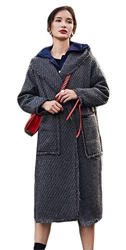 Fashion Outerwear Termico Autunno Lunga Vintage Invernali Grau Coat Manica Giacca Giaccone Giubotto Grazioso Donna Calda Sciolto Casuale Incappucciato Ep8Wq