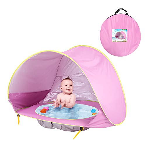 Bili-silly Baby Pop Up Beach Tent with Pool UV Protection UPF 50+ Portable Ultra Light Sun Shelter (Pink)