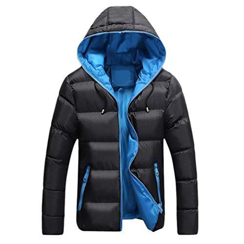 Outdoor Jacket Long Coat Quilted Men's Blau Schwarz Hooded Sleeve Parka Jacket Casual Outwear Jacket Apparel Winter Winter Coat Warm O8q1Pfp