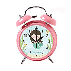 ZEREO 5 Colors Child Portable Cute Round Battery Alarm Clock Desktop Table Bedside Clocks Decor Pink Alarm Clock Gift Cute Mermaid