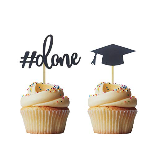 - Morndew 24 PCS Graduation Done and Doctoral Cap Cupcake Toppers for Graduation Party Decorations