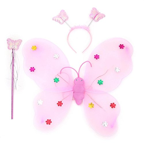 New Butterfly Girls Tights (2017 New Halloween Girls LED Butterfly Fairy Wings Wand Headband Dress up Costume 3pcs/Set (pink))