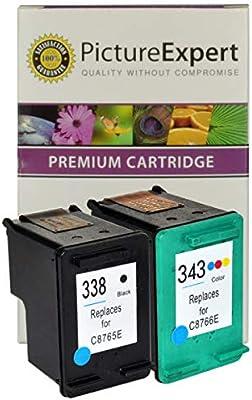 HP 338 y 343 (C8765ee / C8766EE) conjunto de cartucho de tinta negro y color: Amazon.es: Oficina y papelería