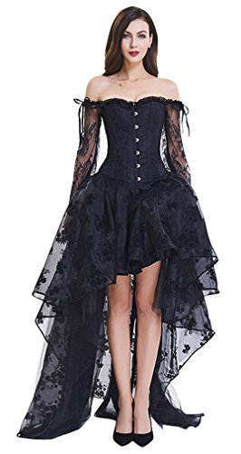 (Kimring Women's Steampunk Victorian Off Shoulder Embroidery Long Sleeves Corset Top with High Low Skirt Set Black)