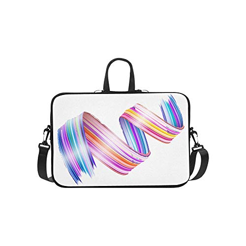 Pink Ribbon Spiral Notebook - Laptop Bag Abstract Color Wave Line Shoulder Bag Crossbody Bag Double Zipper for Men Women Business Personnel Unisex-Adult Business Travelling Classes College