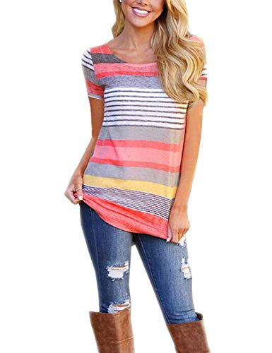 HUHHRRY Womens Loose Printed Pullover Casual Tees T-Shirt