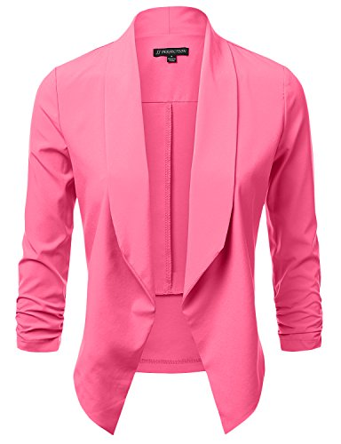 Lace Blazer Jacket - JJ Perfection Women's Lightweight Chiffon Ruched Sleeve Open-Front Blazer HOTPINK S