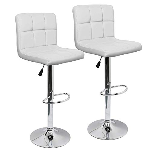 IntimaTe WM Heart Adjustable Swivel Bar Stools Set Of 2, Faux Leather Gas Lift Modern Square Kitchen Chairs With Back ()