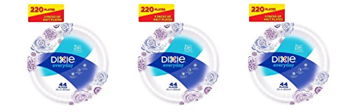 Dixie Everyday Paper Plates, 10 1/16 Inches MLUntP, 3Pack of 220 Plates by Dixie