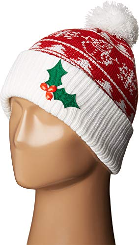 Red Hat Lady Snowman - San Diego Hat Company Women's Snowman and Applique Christmas Beanie Hat, Red, OS