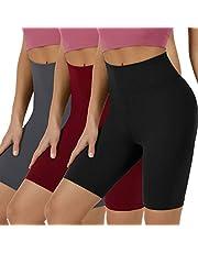 VALANDY Pantalones cortos de motociclista para mujer, cintura alta, pantalones cortos de entrenamiento, pantalones de yoga de 8 pulgadas, suaves opacos