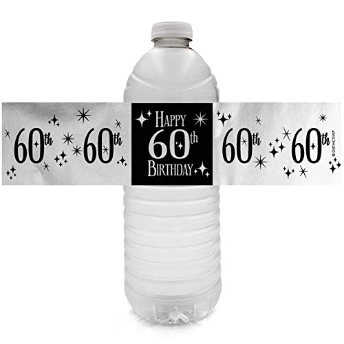 - Black and Silver 60th Birthday Party Water Bottle Labels | Shiny Foil | 24 Count