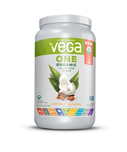 Vega One Organic All-in-One Shake Coconut Almond (18 Servings, 24.3 oz) - Plant Based Vegan Protein Powder, Non Dairy, Gluten Free, Non GMO
