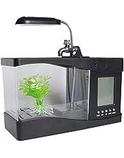 Garneck Mini Acuario Acuario Mini USB Acuario Mini Pecera con Reloj con Luz Led para Decoración del Hogar de Oficina (Blanco)