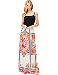 Womens Boho Maxi Skirt w Leg Split