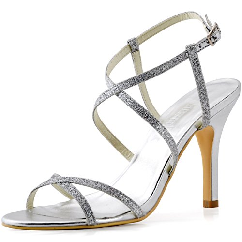 ElegantPark HP1520 Women's Glitter Sandals Open Toe Stiletto Heel Cross Strap Evening Party Pumps Shoes Silver US 8