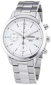 Seiko SNDY35P1 - Reloj cronógrafo de mujer de cuarzo con correa de acero inoxidable plateada (cronómetro) - sumergible a 50 metros