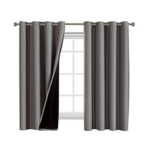 Full Blackout Curtain Panels Set of 2, 100% Blakcout Curtains for Bedroom Lined Curtains 63 Inches Long Double Layer Curtains with Black Liner, Thermal Insulated Grommet Window Treatment Panels, Gray