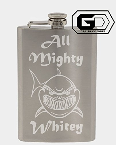 All Mighty Whitey Shark 8oz. Stainless Steel Flask With Custom Hand Made Etching Custom Gifts