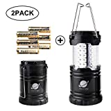 Biange Portable Outdoor LED Camping Lantern 2 Pack - Camping Gear Equipment for Hiking, Emergencies, hurricanes, Outages, Storms (Black, Collapsible)