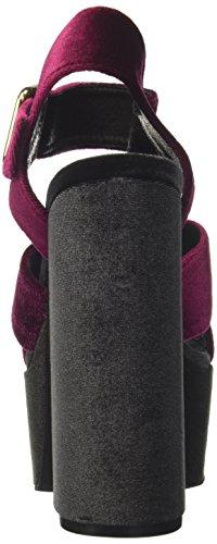 Jeffrey Campbell Ladies 16f021 Sandali Velluto Senza Cuciture Con Plateau Multicolore (vino / Grigio Scuro)