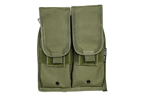 Classic Army Airsoft GI Double AK47 Classic I Magazine Pouch with 2 Secure Pockets  OD Green Pouch Holds 4 AK Magazines