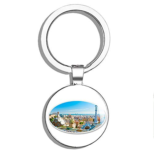 (1080 Graphics Barcelona Park Guell View Oval Metal Round Metal Key Chain Keychain Ring)
