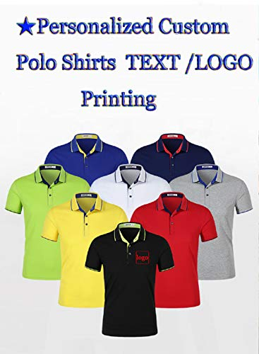 Personalized Customized Men's Polo Shirts Casual Slim Fit Cotton Collar Shirt Add Your Logo Text on Work Shirt |