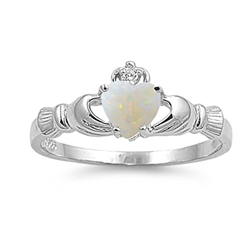 925 Sterling Silver Cabochon Natural Genuine White Opal Claddagh Heart Promise Ring Size 4 ()