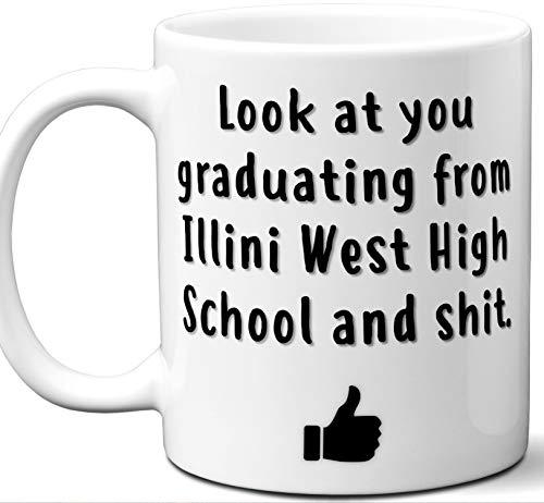 Illini West High School Graduation Gift. Cocoa, Coffee Mug Cup. Student High School Grad Idea Teen Graduates Boys Girls Him Her Class. Funny Congratulations. 11 oz.