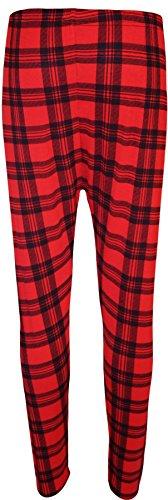 WearAll - Grande Taille Imprimer Pantalon taille élastique femmes pleine longue Jambières - Rouge Tartan - 52-54