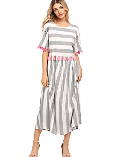 Striped Tassel Dress Casual Women's Trim Maix Loose AINORS Sleeved Neck Colorful Round Dress Short z0xW1On