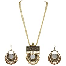 Zephyrr Combo Jewellery Afghani Beaded Mirror Long Pendant Necklace and Earrings For Girls and Women