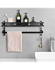 LC&TEAM douchemandje doucheplank zonder boren badkamer plank zelfklevende douche plank met handdoekhouder en 2 haken wandplank aluminium badkamerplank mat zwart