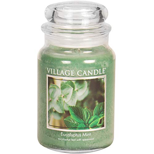 (Village Candle Eucalyptus Mint 26 oz Glass Jar Scented Candle, Large)