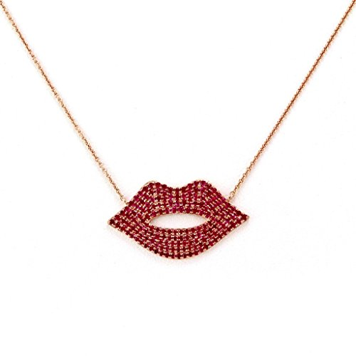 1.35ct Pavé Red Ruby in 14K Rose Gold Sexy Lips Pendant Necklace (18, rose-gold) (Si3 Diamond Red Round)