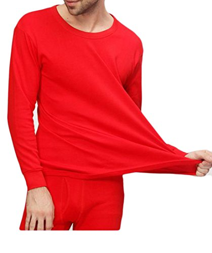 Fulok Mens' Comfy Couple Crewneck Wedding Thermal Underwear Sets Red S by Fulok