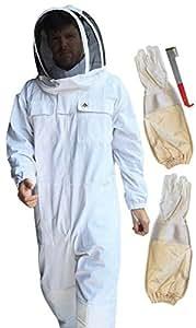 La apicultura grande Protectora de la apicultura traje–Kit de 100% algodón, color blanco–Guantes de piel de cordero (XL) & j-tool–Fenced Malla Veil–/, capucha desmontable–costuras de alta calidad–de cremalleras YKK lisa (Tamaño Grande)