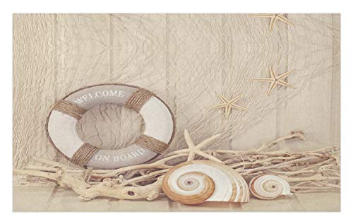 - Ambesonne Coastal Doormat, Welcome On Board Life Buoy Wooden Sepia Fishnet Holiday Maritime Theme Print, Decorative Polyester Floor Mat with Non-Skid Backing, 30 W X 18 L Inches, Tan Beige White