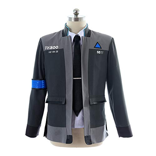 (mangu COSTORY Become Human Connor Jacket Cosplay Costume Men Coat Uniform Suit (XL,)