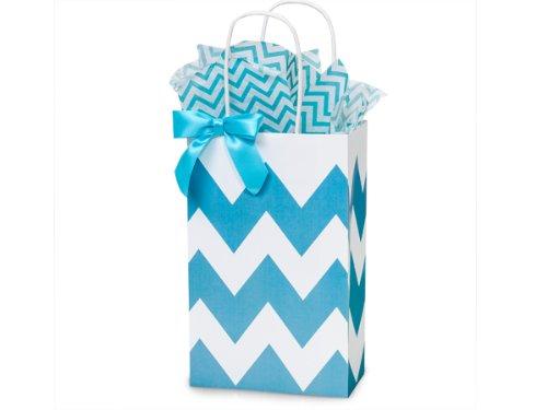 (Turquoise & White Chevron Rose Paper Shopper Gift Bag - Pack of 10)