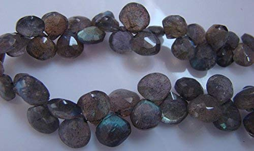 - 1 Strand White Labradorite Faceted Briolettes - Pear Drop Shape Beads 8x6mm-12x6mm 8 Inch by Gemswholesale