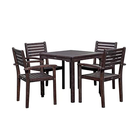 DTY Outdoor Living Leadville Square 5-Piece Eucalyptus Dining Set, Espresso Finish - FOREST STEWARDSHIP COUNCIL CERTIFIED: Go Green! Our FSC Eucalyptus is sustainable, eco-friendly wood and a renewable resource from well managed forests that are Forest Stewardship Council certified BUILT TO LAST: Created from 100% eucalyptus this dining set is naturally weather resistant and will stand up to the elements, perfect for any climate. Its high oil content repels bugs and helps protect it from moisture, UV rays, decay and rot. STYLISH DESIGN: Casual yet stylish this beautiful 5-piece square dining set is sure to make your summer gatherings a success. The set features a table and 4 stacking arm chairs for easy storage. - patio-furniture, dining-sets-patio-funiture, patio - 41WVGwEyJcL. SS570  -
