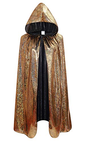 OurLore Halloween Christmas Costumes Cape for Kids Shiny Hooded Masquerade Cosplay Party Cloak (Gold, Large)