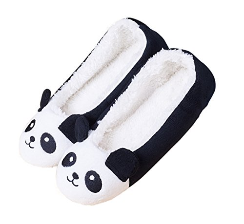 Women's Winter Warm Soft Plush Fleece Cartoon Panda Ballet House Indoor Slippers Size 7-8 US (Cartoon House)