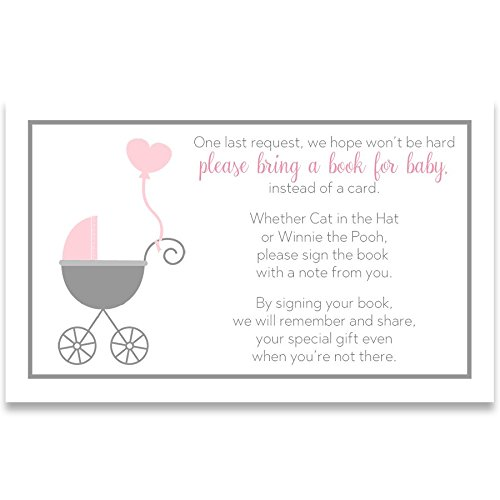 Baby Shower 3 24 Carriage - Bring A Book Cards, Baby Shower Invitation Book Inserts, Buggy Baby, Carriage, Stroller, Baby Girl, Pink, White, Grey, Gray, 24 Printed Cards