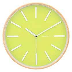 DecoMates Non-Ticking Silent Wooden Wall Clock - Pop of Color (Green)
