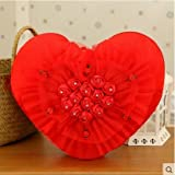 HOMEE Love Roses4313Pillow Cushion by a Car Air-Conditioning Quilt Heart-Shaped Wedding Gift Girls,Red Roses,38Cm
