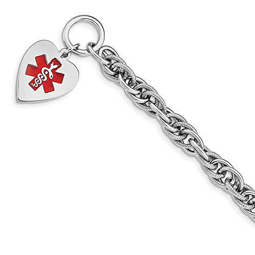 925 Sterling Silver Polished 8mm Engraveable Enameled Heart Medical ID Toggle Bracelet 7.75